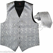 SILVER XS to 6XL Paisley Tuxedo Suit Dress Vest Waistcoat & Neck tie Wedding