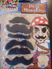 SET of 6 STICK ON PIRATE MOUSTACHE LOOT GIFT PARTY BAG PINATA FANCY DRESS