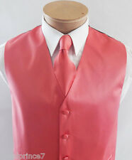 Coral Solid Classic Tuxedo Vest Waistcoat and Neck tie Prom Wedding Party 10X
