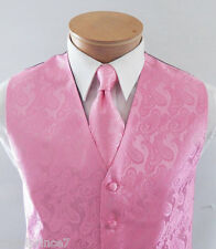 Pink XS to 6XL Paisley Tuxedo Suit Dress Vest Waistcoat & Neck tie Wedding 20-F