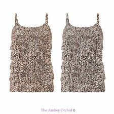 LADIES WOMENS LOOSE LEOPARD PRINT SHIRT SLEEVELESS STRAP VEST PLEATED TOP 8-14