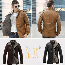 Fashion-Mens-Winter-Jacket-Leather-Fur-Parka-Fleece-Jacket-Trench-Slim-Coat-CYi5