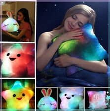 LED 7Colour Changing Light Up Glow Mood Pillow Soft Cosy Relax Cushion Gift 8pl4