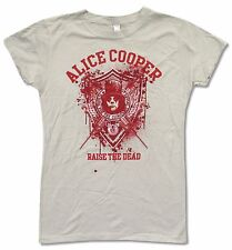 "ALICE COOPER ""SCHOOL FOR INSANE"" LT GREY BABY DOLL T-SHIRT NEW OFFICIAL JUNIORS"
