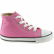 GIRLS CONVERSE CANVAS ALL STAR HI BOOTS SIZE 4 - 10 INFANTS PINK 7J234