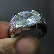 Size 9-11 Classic Mens Jewelry White Sapphire 10KT White Gold Filled HI-Q Ring