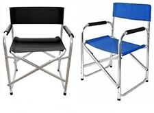 BLACK/BLUE ALUMINIUM DIRECTORS FOLDING CHAIR WITH ARMS CAMPING GARDEN