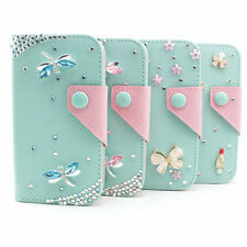 3D bling flower girly leather wallet flip diamond stand case cover for blu HTC