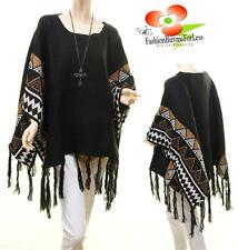 Celebrity Black Wool Knit Poncho Tribal Aztec Navajo Fringe Pullover Sweater Top