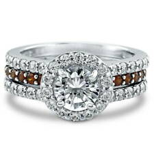 BERRICLE Sterling Silver 2.08 Carat Round CZ Halo Engagement Insert Ring Set