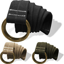 Mens Womens Canvas Belt Black Adjustable Double D Ring Buckle Webbed Military