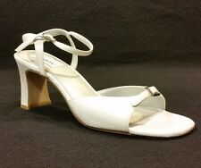 Dyeables Misty Open Toe White Satin Dyeable Pump Shoe