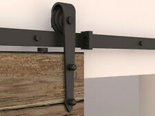 6.6/6FTSteel black sliding barn door hardware rustic sliding track hardware