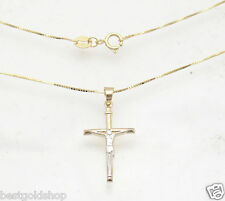 Two-Tone Cross Crucifix w/ Box  Chain Necklace Real Solid 14K Yellow White Gold
