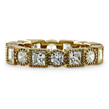BERRICLE Yellow Gold Plated Sterling Silver 2.32 Carat CZ Eternity Band Ring