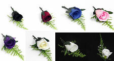 Wedding Button Holes Roses Bridal Artificial roses purple pink ivory blue white