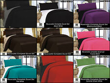MICROFIBRE 4 PCS COMPLETE REVERSIBLE DUVET COVER & FITTED SHEET BED SETS NEW