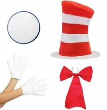 Cat in the Hat Book Week Fancy Dress Hat Bow Tie Gloves Paint Costume CHILDRENS