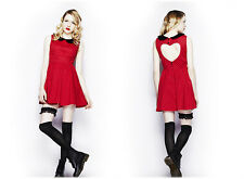 Hell Bunny Alesha Kate Red Dot Peter Pan Collar Skater Work College Dress