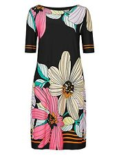 NEW Marks and Spencer Black Pink Orange Bold Floral Shift Tunic Dress 8 to 18