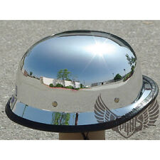 CHROME MIRROR Silver German Style DOT Low Profile Motorcycle Half Helmet Chopper