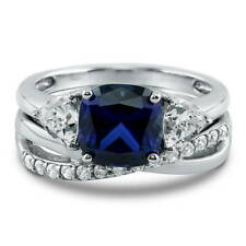Silver 3.09 CT Cushion Simulated Sapphire CZ 3-Stone Engagement Ring Set