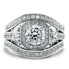 BERRICLE Sterling Silver Round CZ Art Deco Halo Engagement Ring Set 2.48 Carat