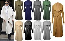 BRAND NEW LADIES WATERFALL BELT JACKET DRAPED WOMEN'S CARDIGAN TRENCH COAT CAMEL