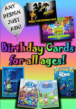 PERSONALISED birthday card Large A5 size 100s of designs inc disney greetings..