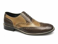 London Brogues GATSBY Mens Leather Lace-Up Brogue Evening Formal Shoes Brown/Tan