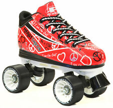 New! Pacer Red Heart Throb Quad Roller Speed Skates with 3 Pair of Laces!