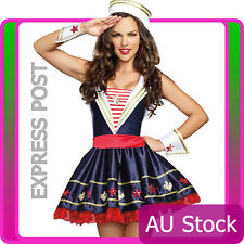 Ladies Sailor Navy Uniform Pin Up Costume Sexy Moon Halloween Fancy Dress Hat
