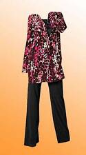 New Simply Be Ladies 4 Piece Trouser and Blouse Set 27in Size 14 Pink Print