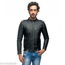 Leather Jacket New Men's Slim Fit Designed Casual Padding Style Winter SALE  PU