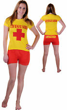 Ladies Beach Babewatch Life Guard Costume T Shirt Hot Pants Set 80's Party