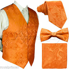 ORANGE XS-6XL Paisley Tuxedo Suit Dress Vest Waistcoat Bow Tie Neck tie Hanky