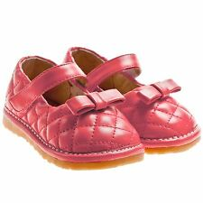 Little Blue Lamb Girls Infant Toddler Leather Squeaky Shoes Red Quilted Effect