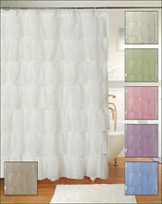 Chic Gypsy Ruffle Shower Curtain, Crushed Voile Semi Sheer, Various Colors