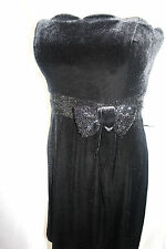 JS Boutique black velvet evening dress sequin waistband bow UK 8 10 14 rrp £150