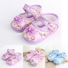 Bowknot Baby Girl Cotton Crib Shoes Flower Printed Infant Toddler Soft Sole