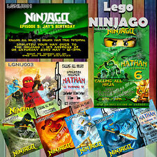 Lego Ninjago Masters of Spinjitzu Personalised Invitations Green Ninja Jay Zane