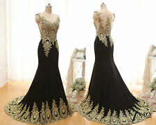 New Long Chiffon Mermaid Crystal Gold Lace Prom Dress Applique Evening Dress