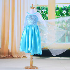 Blue Baby Girls Kids Costumes Cosplay Party Dance Gown Fancy Tulle Dress 3-8Y