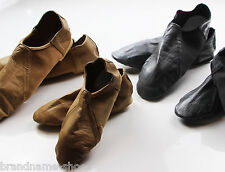GIRLS WOMENS BLACK NUDE LEATHER JAZZ DANCE ADULT KIDS SPLIT SOLE SHOES BOOTIES
