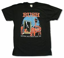 """RUSH """"MOVING PICTURES"""" BLACK SLIM FIT T-SHIRT TOUR 1981 NEW OFFICIAL BAND"""