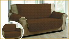 QUILTED CHOCOLATE JACQUARD SOFA PROTECTOR SOFA SLIP THROW COVER 1,2,3 SEATER