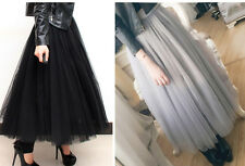 Spring fashion Princess Women Multi layer Tulle maxi long skirt Gray Black White