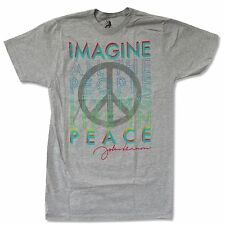 "JOHN LENNON ""IMAGINE PEACE"" LIGHT GREY T-SHIRT NEW OFFICIAL ADULT BEATLES"