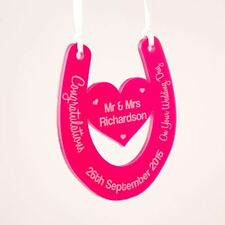 Personalised Wedding Day Horse Shoe Good Luck Bride & Groom Colour Acrylic Gift
