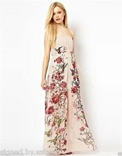 French Connection Rio Floral Bird Embellished Maxi Bandeau Strapless Party Dress